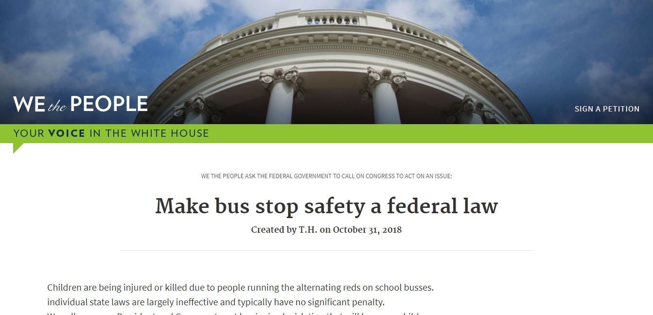 Bus Safety Petition Hits the White House